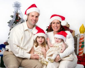 red and white Christmas family